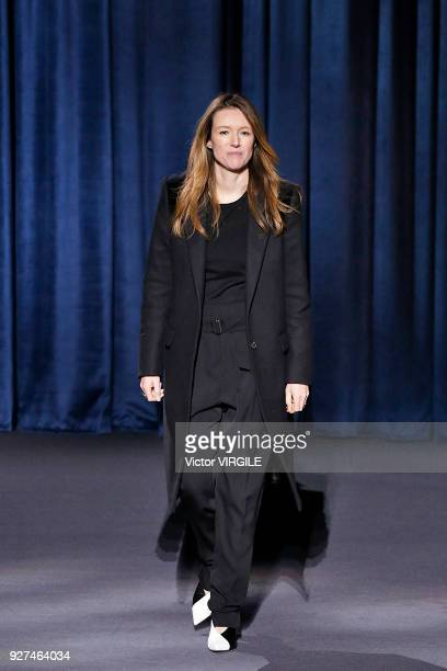 Fashion designer Clare Waight Keller walks the runway during the Givenchy Ready to Wear fashion show as part of the Paris Fashion Week Womenswear...