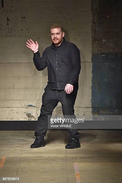 Fashion designer Craig Green walks the runway at the Craig Green Autumn Winter 2017-2018 fashion show during London Menswear Fashion Week on January...