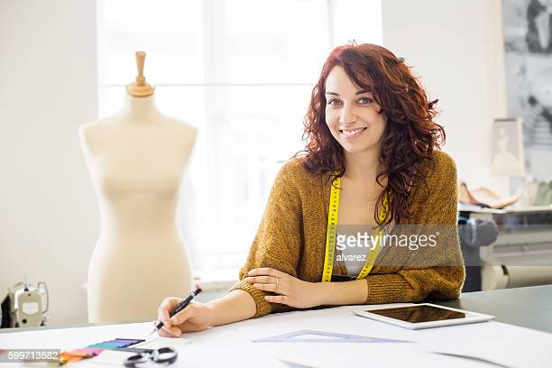 Fashion designer creating new clothing trends