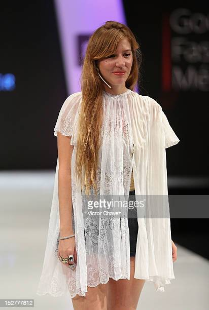 Fashion designer Cynthia Buttenklepper walks the runway during the first day of Google Fashion Mexico at Estudios Churubusco on September 25 2012 in...