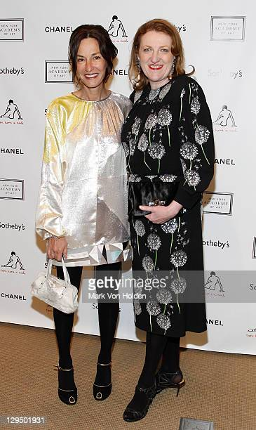 Fashion designer Cynthia Rowley and Harper's Bazaar's Glenda Bailey attend The New York Academy of Art's 20th Annual Take Home a Nude benefit at...
