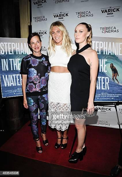Fashion Designer Cynthia Rowley surfer Stephanie Gilmore and director Ava Warbrick attend the 'Stephanie In The Water' New York Premiere at Tribeca...
