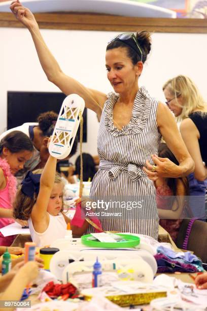 d7ac52bd97d Fashion designer Cynthia Rowley with her daughter Gigi Powers teaches  sewing to children at The New