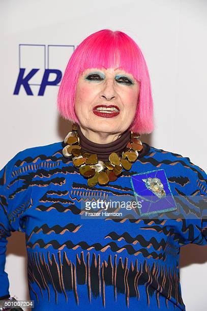 Fashion designer Dame Zandra Rhodes attends the BABC LA Hosts 56th Annual Christmas Luncheon at Fairmont Miramar Hotel on December 11 2015 in Santa...