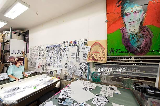 Fashion designer Dame Zandra Rhodes's studio is photographed for Hello magazine on February 10 2015 in London England