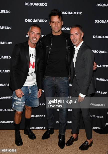 Fashion designer Dan Caten recording artist Ricky Martin and fashion designer Dean Caten attend the grand opening party for Dsquared2 at The Shops at...