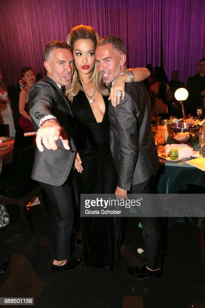 Fashion Designer Dean and Dan Caten desquared and Rita Ora attend the amfAR Gala Cannes 2017 at Hotel du CapEdenRoc on May 25 2017 in Cap d'Antibes...