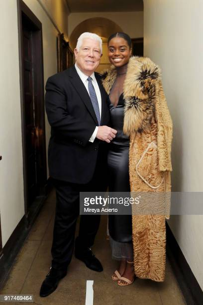 Fashion designer Dennis Basso and actress Denee Benton attend the Dennis Basso fashion show at St Bartholomew's Church on February 12 2018 in New...