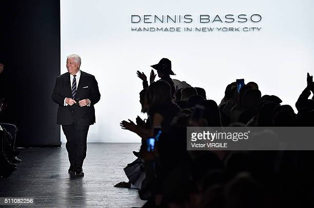 Fashion designer Dennis Basso walks the runway at the Dennis Basso Fall/Winter 2016 fashion show during New York Fashion Week on February 16 2016 in...