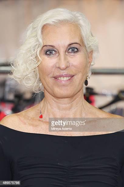 Fashion designer Designer Chiara Boni poses backstage before the Chiara Boni La Petite Robe fashion show during Spring 2016 New York Fashion Week at...