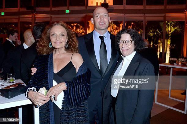 Fashion designer Diane von Furstenberg, Alexander von Furstenberg and author Fran Lebowitz attend the 2016 Vanity Fair Oscar Party Hosted By Graydon...