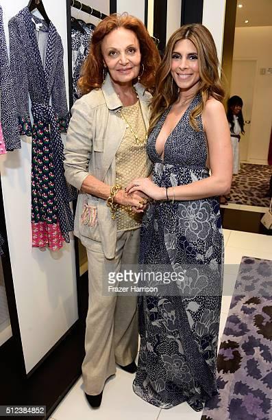 Fashion designer Diane von Furstenberg and actress JamieLynn Sigler attend a shopping event at Diane von Furstenberg at The Grove to support the...