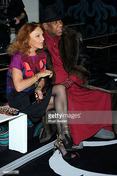 Fashion designer Diane von Furstenberg and Andre Leon Talley attend the American Express UNSTAGED Fashion with DVF at Spring Studios on February 9...