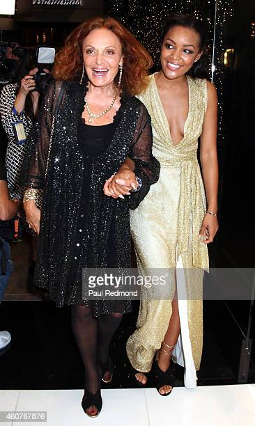 Fashion designer Diane von Furstenberg and DVF Brand Ambassador Brittany Hampton arrive at 'House of DVF' season finale with Diane von Furstenberg...