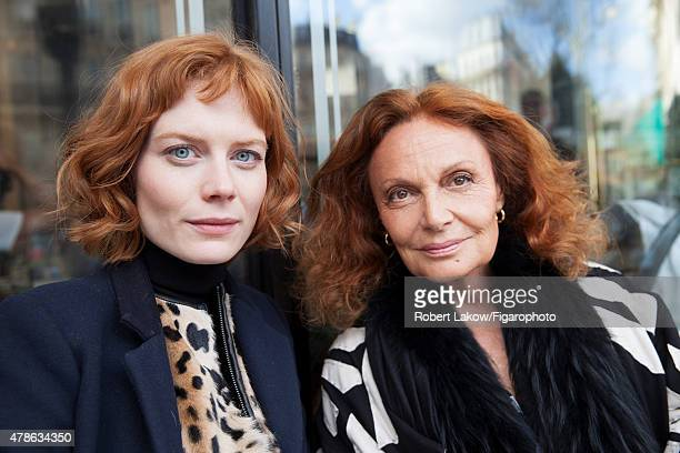 Fashion designer Diane von Furstenberg and DVF Style Editor, Jessica Joffe are photographed for Madame Figaro on March 4, 2015 in Paris, France....