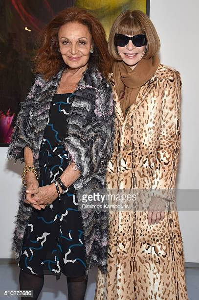 Fashion designer Diane Von Furstenberg and editorinchief of American Vogue Anna Wintour pose Diane Von Furstenberg Fall 2016 during New York Fashion...