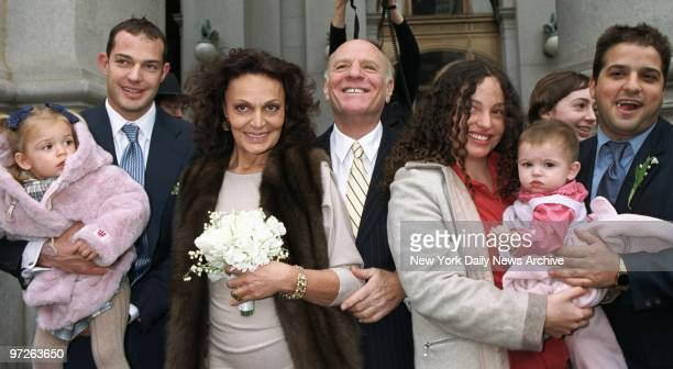 Fashion designer Diane Von Furstenberg and TV tycoon Barry Diller are joined by family members after their City Hall wedding Present are Von...