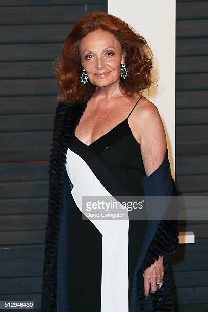 Fashion designer Diane Von Furstenberg arrives at the 2016 Vanity Fair Oscar Party Hosted by Graydon Carter at the Wallis Annenberg Center for the...