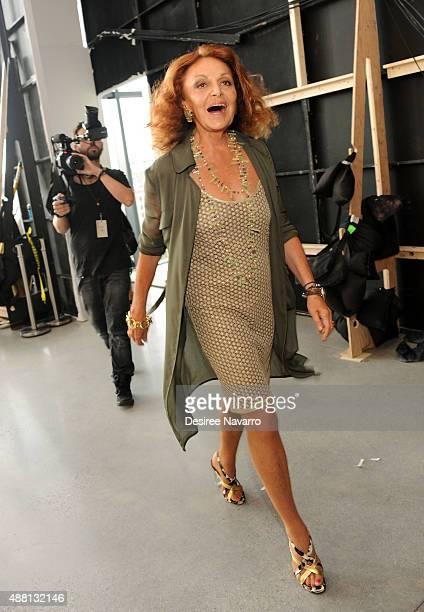 Fashion designer Diane Von Furstenberg attends backstage during Diane Von Furstenberg Spring 2016 New York Fashion Week at Spring Studios on...