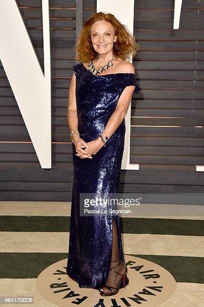 Fashion designer Diane von Furstenberg attends the 2015 Vanity Fair Oscar Party hosted by Graydon Carter at Wallis Annenberg Center for the...
