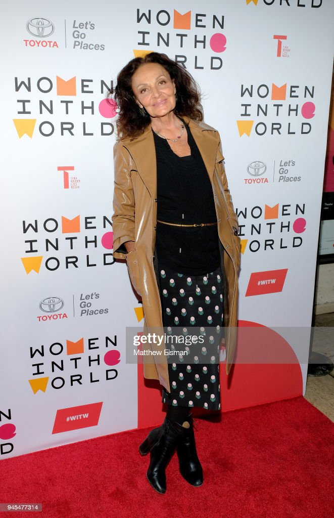 Fashion designer Diane von Furstenberg attends the 2018 Women In The World Summit at Lincoln Center on April 12, 2018 in New York City.