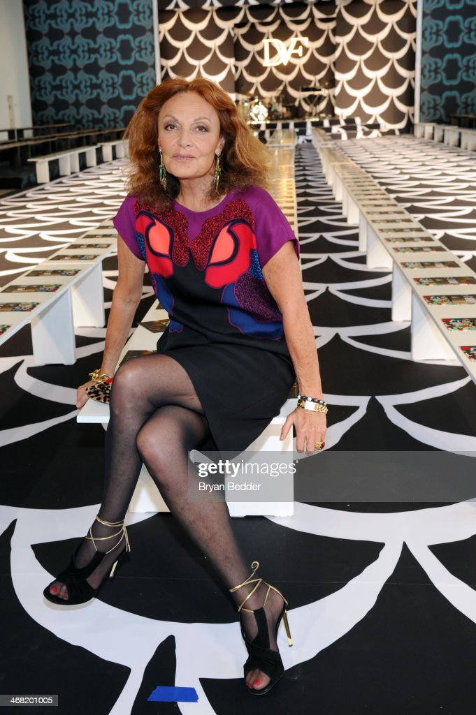 Fashion designer Diane von Furstenberg attends the American Express UNSTAGED Fashion with DVF at Spring Studios on February 9, 2014 in New York City.