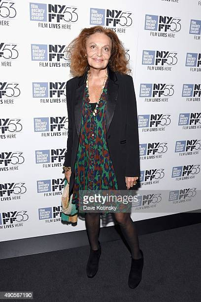 """Fashion Designer Diane von Furstenberg attends the """"Everything Is Copy"""" premiere during the 53rd New York Film Festival at Walter Reade Theater on..."""