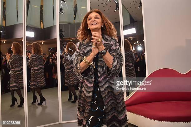 Fashion designer Diane Von Furstenberg poses during Diane Von Furstenberg Fall 2016 during New York Fashion Week on February 14, 2016 in New York...