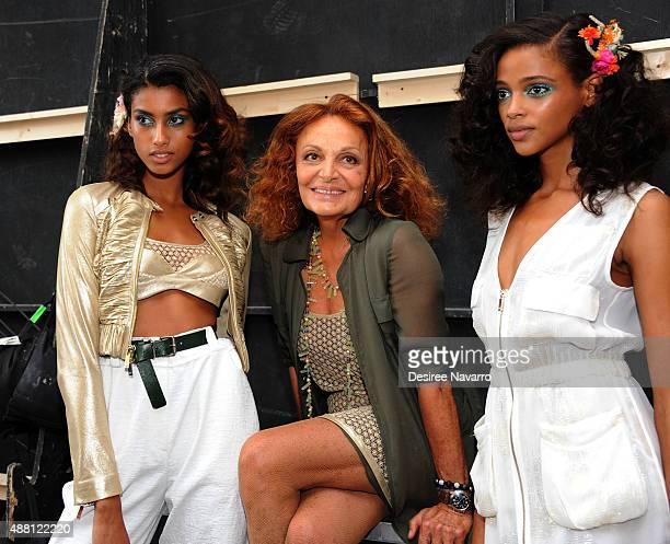 Fashion designer Diane Von Furstenberg poses with models backstage during Diane Von Furstenberg Front Row Backstage Spring 2016 New York Fashion Week...