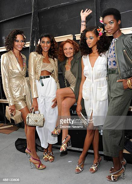 Fashion designer Diane Von Furstenberg poses with models backstage during Diane Von Furstenberg Front Row Backstage Spring 2016 New York Fashion Week...