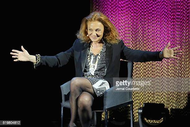 Fashion designer Diane von Furstenberg speaks onstage at A WrapUp With DVF during Tina Brown's 7th Annual Women in the World Summit at David H Koch...