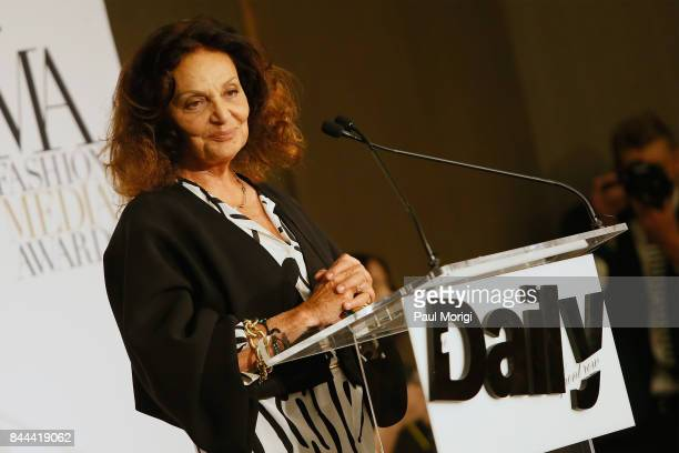 Fashion designer Diane von Furstenberg speaks onstage during the Daily Front Row's Fashion Media Awards at Four Seasons Hotel New York Downtown on...