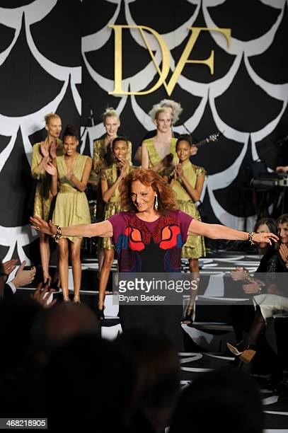 Fashion designer Diane von Furstenberg walks the runway at the American Express UNSTAGED Fashion with DVF at Spring Studios on February 9 2014 in New...