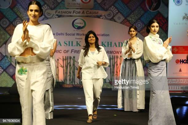 Fashion designer Diksha Khanna presents her designs during the Fashion Show to promote Ahimsa Silk and Khadi on April 1 2018 in New Delhi India