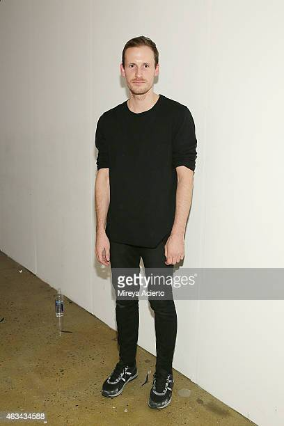 Fashion designer Dion Lee backstage at Dion Lee runway show during MADE Fashion Week Fall 2015 at Milk Studios on February 14 2015 in New York City