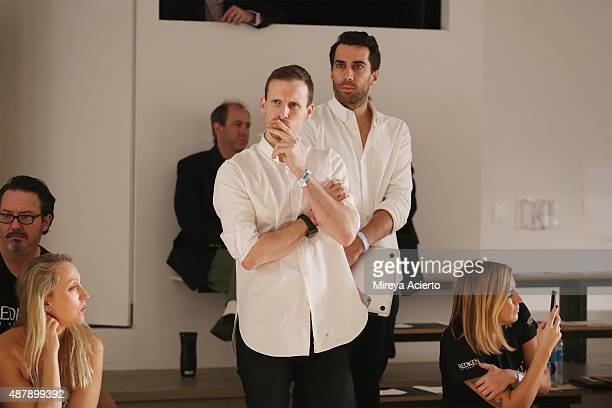 Fashion designer Dion Lee watches the rehearsal at the Dion Lee fashion show during Spring 2016 MADE Fashion Week at Milk Studios on September 12...