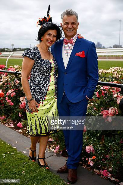Fashion designer Dom Bagnato and wife Pia pose at the Emirates Fashions on the Field Marquee on Emirates Stakes Day at Flemington Racecourse on...