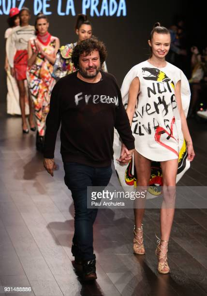 Fashion Designer Domingo Zapata attends his fashion show at the Los Angeles Fashion Week 10th season anniversary at The MacArthur on March 12 2018 in...