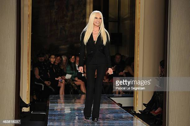 Fashion designer Donatella Versace acknowledges the applause of the audience during Atelier Versace show as part of Paris Fashion Week Haute-Couture...