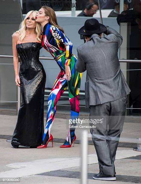 Fashion designer Donatella Versace and model Gigi Hadid are seen arriving to the 2018 CFDA Fashion Awards at Brooklyn Museum on June 4 2018 in New...