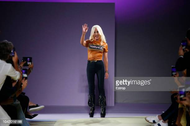 Fashion designer Donatella Versace at the Versace show during Milan Fashion Week Spring/Summer 2019 on September 21 2018 in Milan Italy