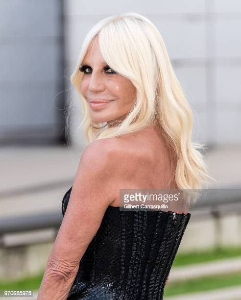 Fashion designer Donatella Versace is seen arriving to the 2018 CFDA Fashion Awards at Brooklyn Museum on June 4 2018 in New York City