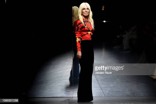 Fashion designer Donatella Versace walks the runway at the Versace show during Milan Menswear Fashion Week Autumn/Winter 2019/20 on January 12 2019...