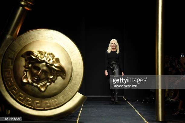 Fashion designer Donatella Versace walks the runway at the Versace show at Milan Fashion Week Autumn/Winter 2019/20 on February 22 2019 in Milan Italy