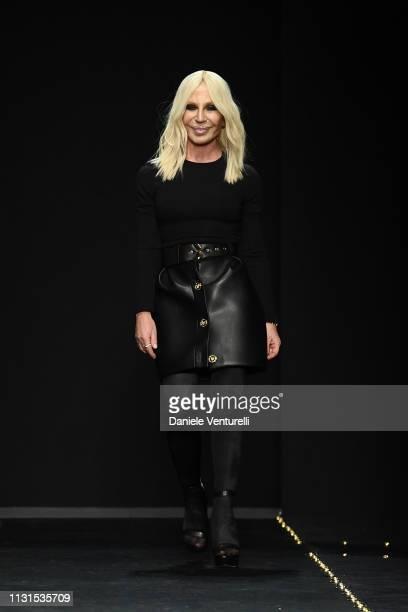 Fashion designer Donatella Versace walks the runway at the Versace show at Milan Fashion Week Autumn/Winter 2019/20 on February 22, 2019 in Milan,...