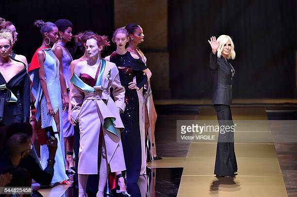 Fashion designer Donatella Versace walks the runway during the Atelier Versace Haute Couture Fall/Winter 20162017 show as part of Paris Fashion Week...