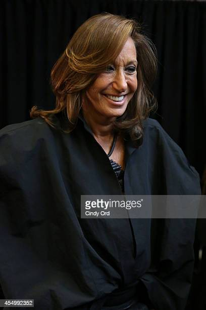 Fashion Designer Donna Karan prepares backstage at the Donna Karan New York 30th Anniversary fashion show during MercedesBenz Fashion Week Spring...