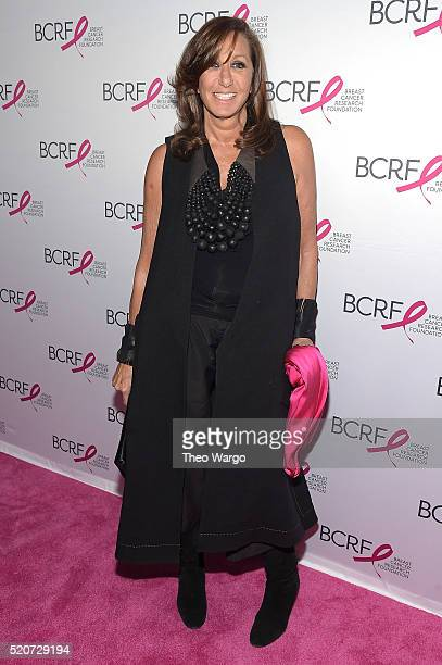 Fashion designer Donna Karan walks the red carpet at the Breast Cancer Research Foundation's Hot Pink Party at the Waldorf Astoria Hotel on April 12...