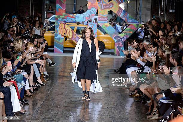 Fashion designer Donna Karan walks the runway at the DKNY Spring Summer 2014 fashion show during New York Fashion Week on September 8 2013 in New...