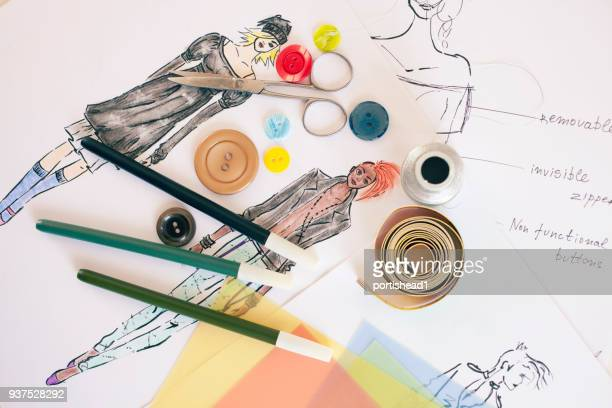 fashion designer drawings - lace dress stock pictures, royalty-free photos & images